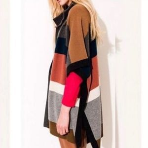 ARITZIA Wilfred Cashmere Wool Color Block Poncho